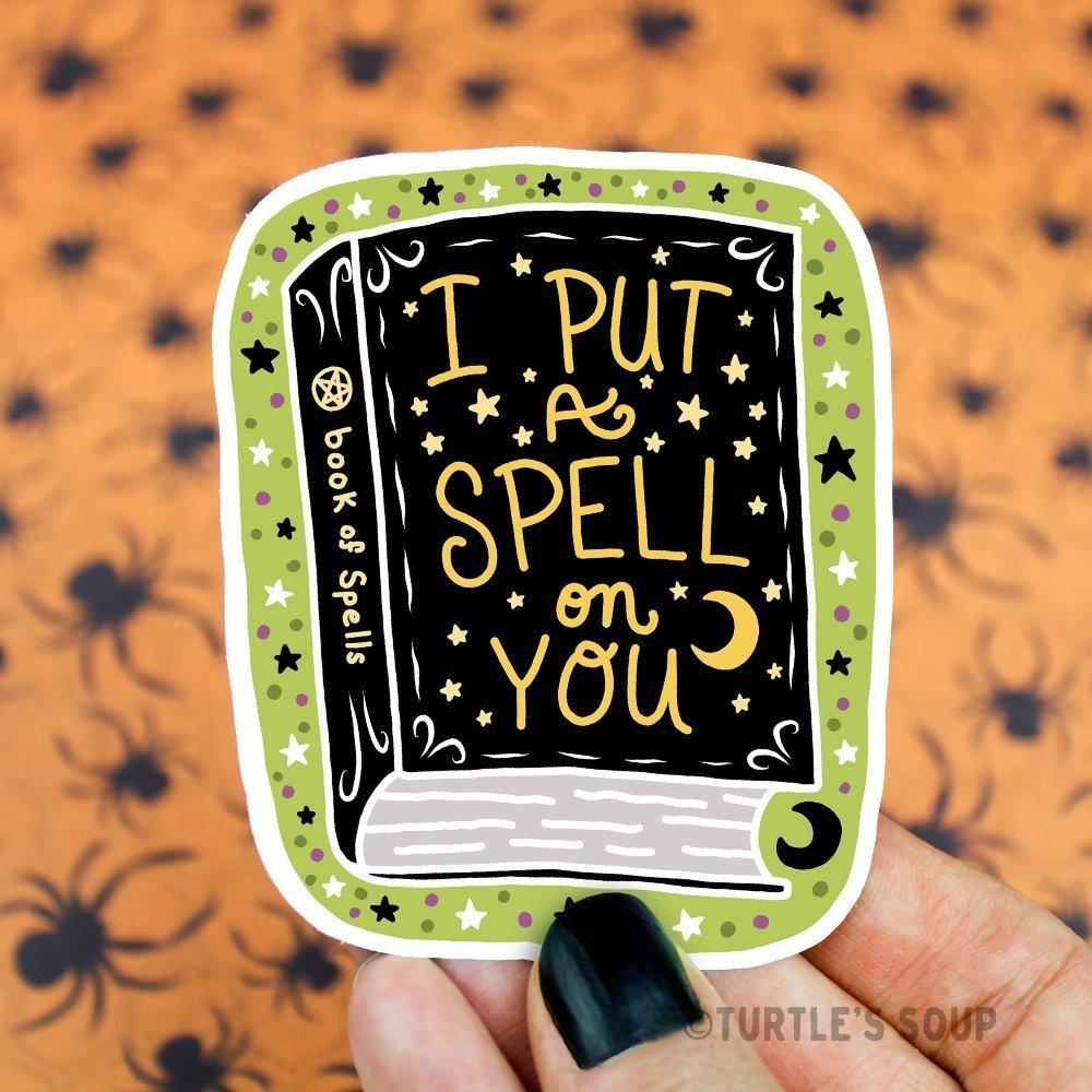 Spell Book Sticker, Vinyl Decal, Witch Sticker, Halloween, Goth Sticker, Pastel Goth, Wicca, Skateboard Stickers, Cute Stickers, Black, Dark