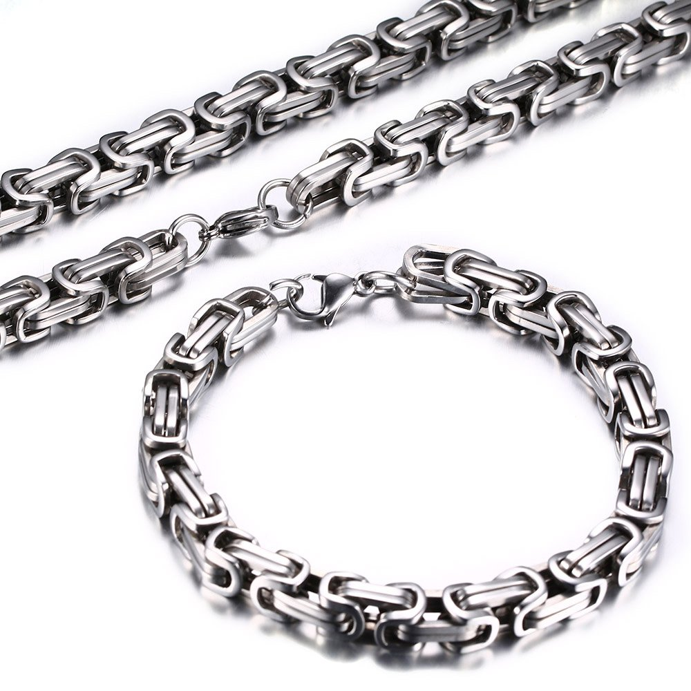 Men's Stainless Steel Mechanic Chunky Byzantine Chain Bracelet and Necklace Jewelry Set, 9'',Polished