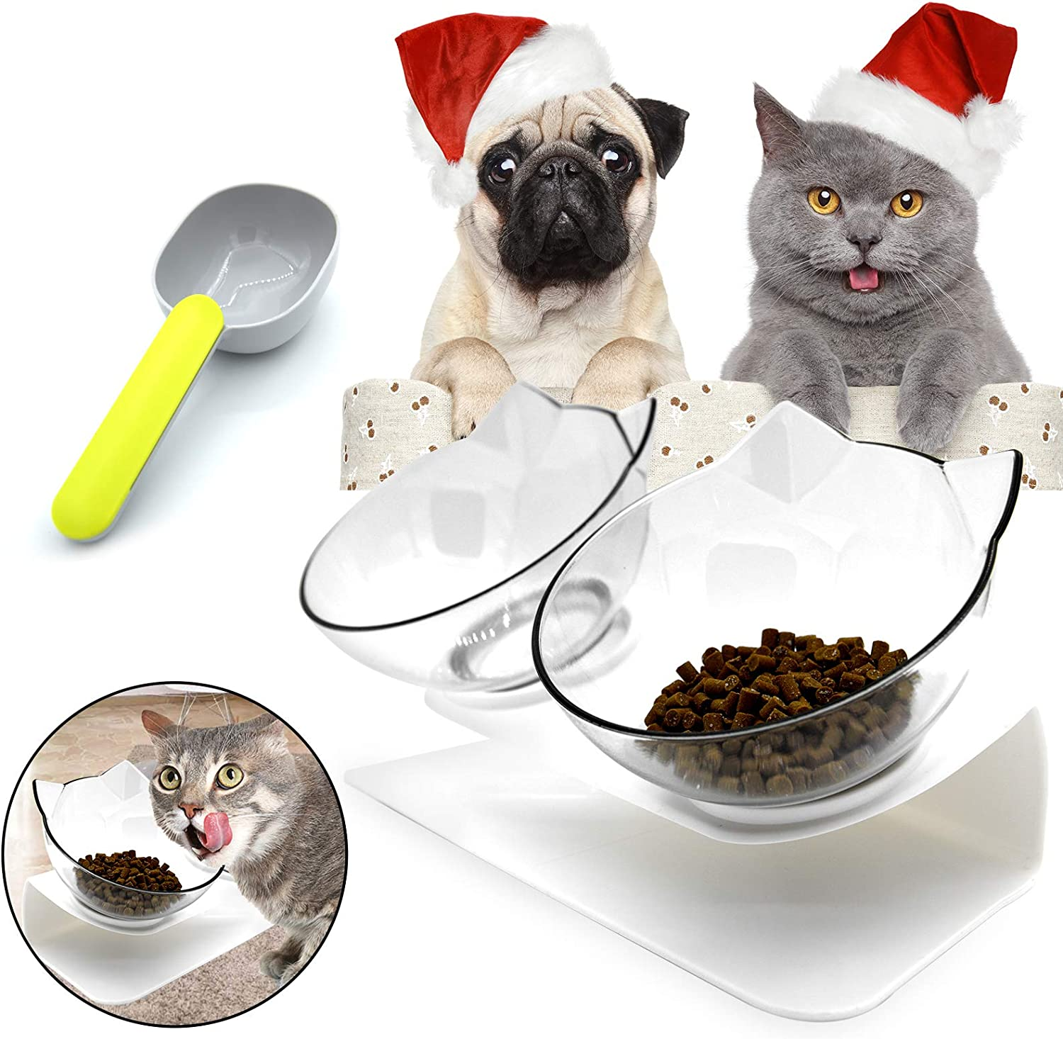 Hkapps Cat Double Food Bowl Pet Food Bowl with Stand,15° Tilted Platform, Reduce Neck Pain Perfect for Small Dog and Cat (Transparent)