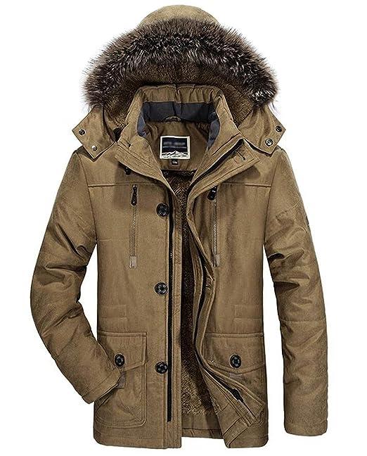 0cfd2465c0 Tomwell Uomo Inverno Militare Antivento Cerniera Cappotti Con Cappuccio  Moda Caldo Della Peluche Giacca Parka Lunga Cappotti