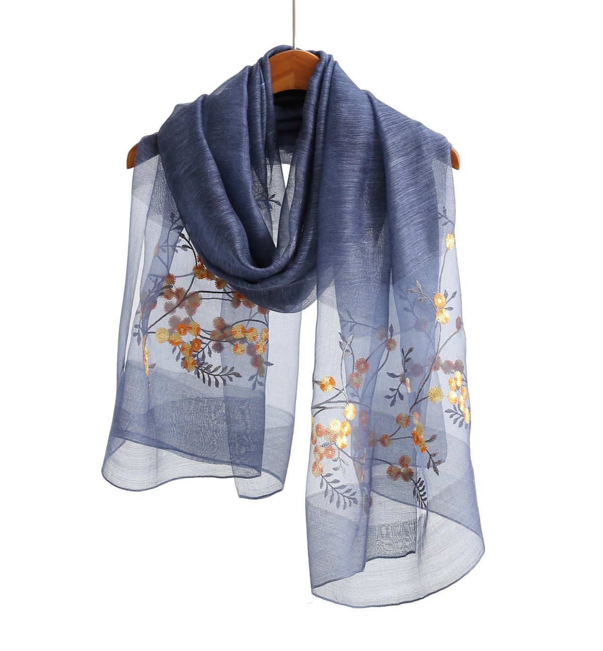 WS Natural Silk/Wool Scarf/Shawl/Wrap For Women Floral Embroidered Sheer (Blue Floral)
