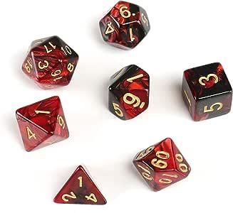 GWHOLE 7 Piezas Dados Poliédricos Dados para Juegos de rol y Mesa Dungeons y Dragons DND RPG MTG con Bolsa Negra (Rojo Negro): Amazon.es: Juguetes y juegos