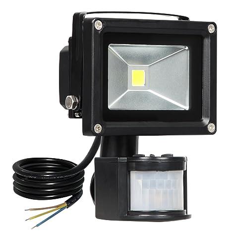 T-SUN Luz de sensor de movimiento de 10W, Luces de inundación LED súper