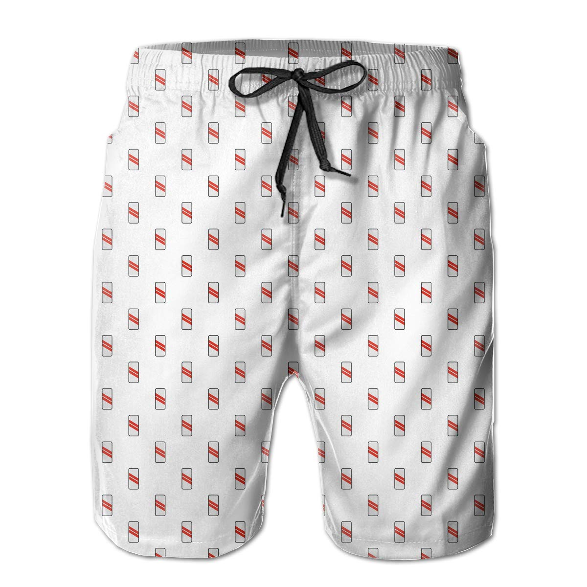 Xk7@KU Mens Casual Swim Trunks Polyester Approaching Railway Pattern Beachwear with Pockets