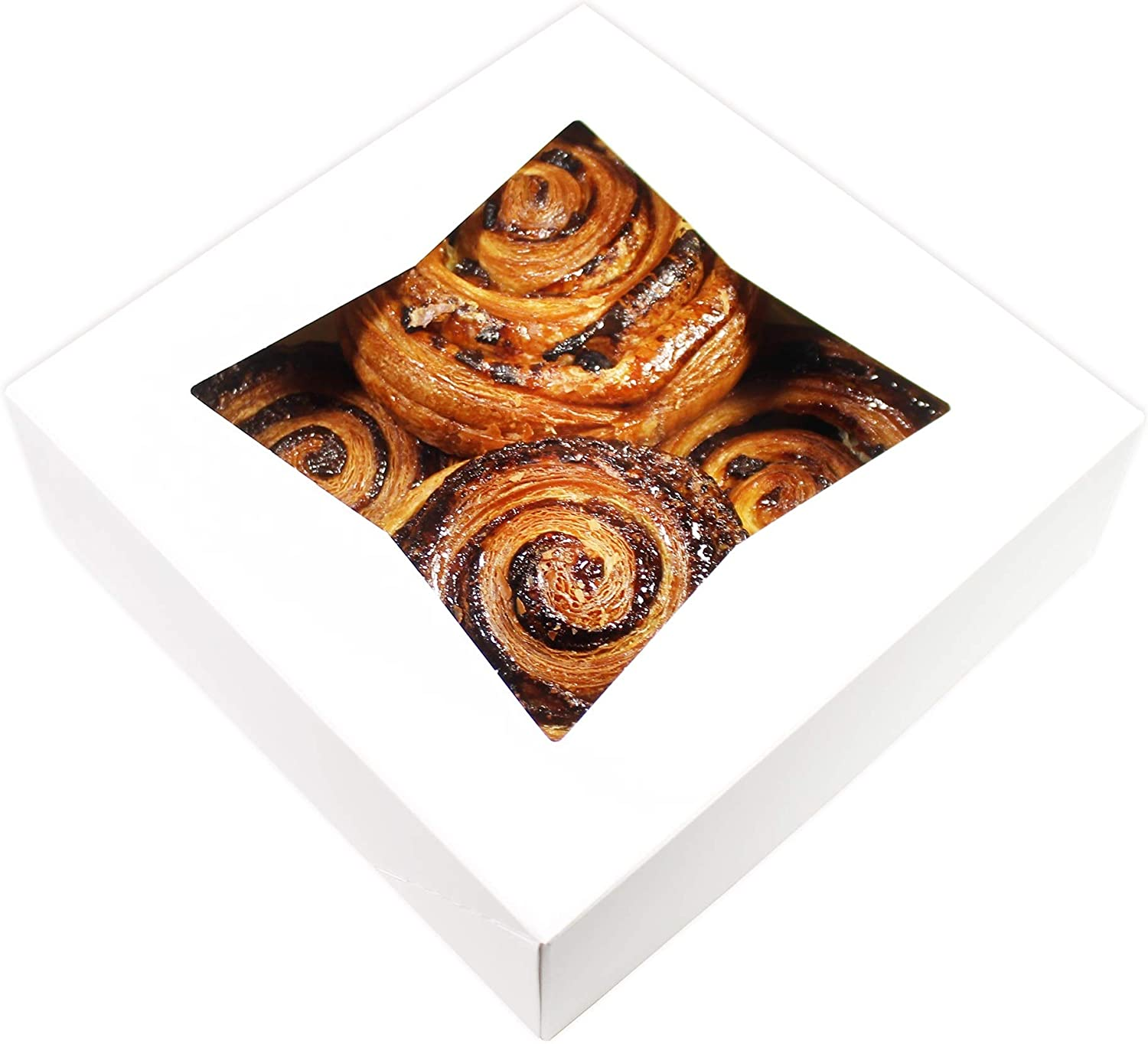 BakeLuv White Bakery Boxes with Window 8x8x2.5 inches | 25 Pack | Auto-Popup | Thick & Sturdy 350 GSM | Cookie Boxes with Window Bakery Boxes for Cookies, Cake Boxes, Donut Boxes, Pastry Boxes