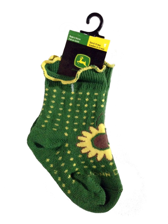Sunflower and Polka Dots John Deere Baby//toddler Sunflower Socks Size 6-12 Months