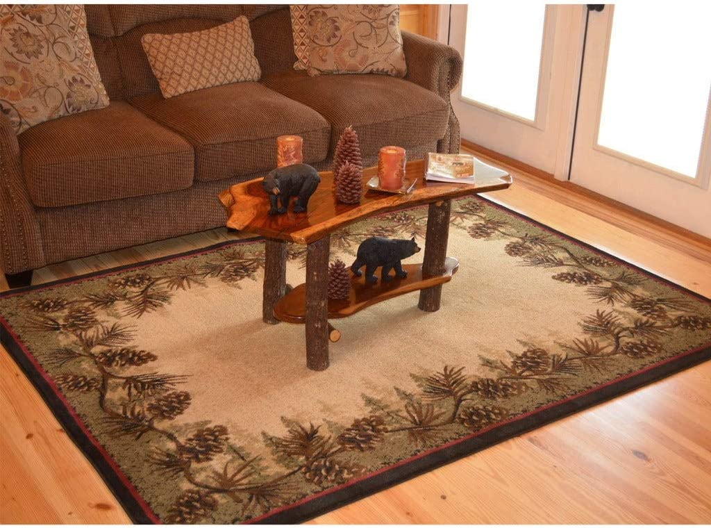 """Rustic Lodge Brown Pine Cone Border Cabin Area Rug - 5'3"""" X 7'3"""" Nature Southwestern Rectangle Polypropylene Synthetic Contains Latex Stain Resistant"""