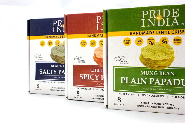 Pride Of India surtidos papadum lentejas fritas llano, paquete de salado y picante de 6 (2 cajas por sabor) 3.53oz (100 g) por caja 8count: Amazon.es: ...