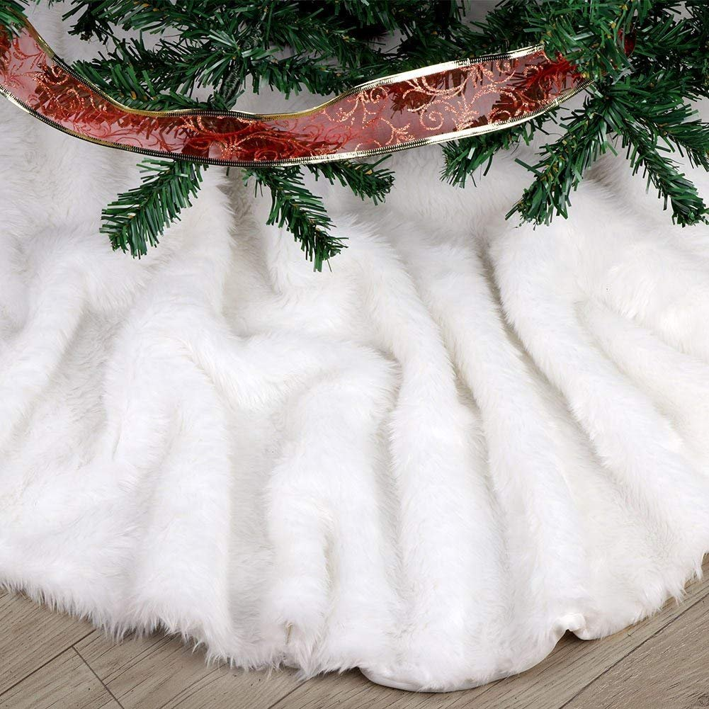 36Inch Faux Fur White Tree Skirts for Xmas Year Party Holiday Home Decorations AuLink Christmas Tree Skirts