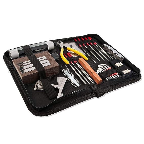 TOOGOO Kit de accesorios de reparacion y mantenimiento de guitarra- Cuidado completo Juego de herramientas para guitarra ukulele y bajo.