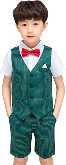 +Boy/'s Formal Vest Set with Dress Shirt Pinstriped Vest Pants and Tie Lime Green
