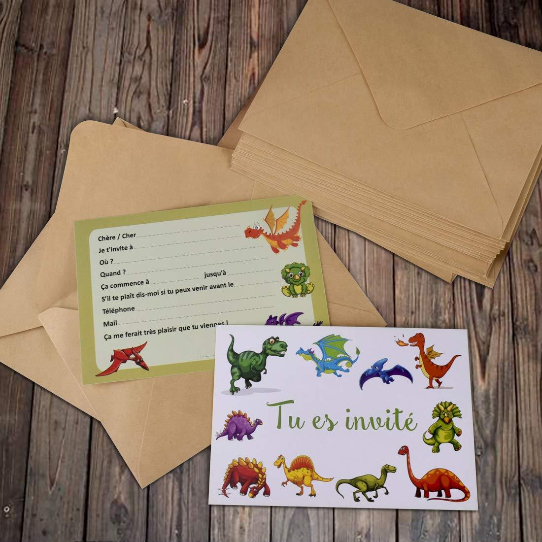 Awinker Lot de 20 Cartes d/'Invitation Dinosaures en Fran/çais pour Anniversaire F/ête d/'Enfant