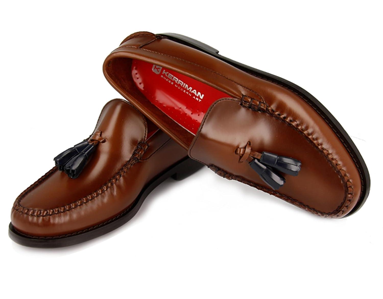 KERRIMAN Castellanos Hombre Marron KARIKOLE con BORLAS Azules: Amazon.es: Zapatos y complementos