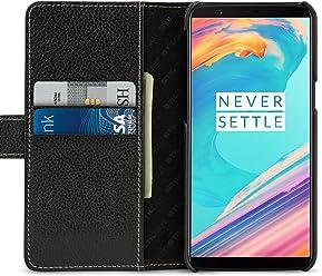StilGut Talis Case Portafoglio, Custodia in Pelle Cover per OnePlus 5T. Chiusura Magnetica a Libro Flip-Case in Vera Pelle Fatta a Mano, Nero