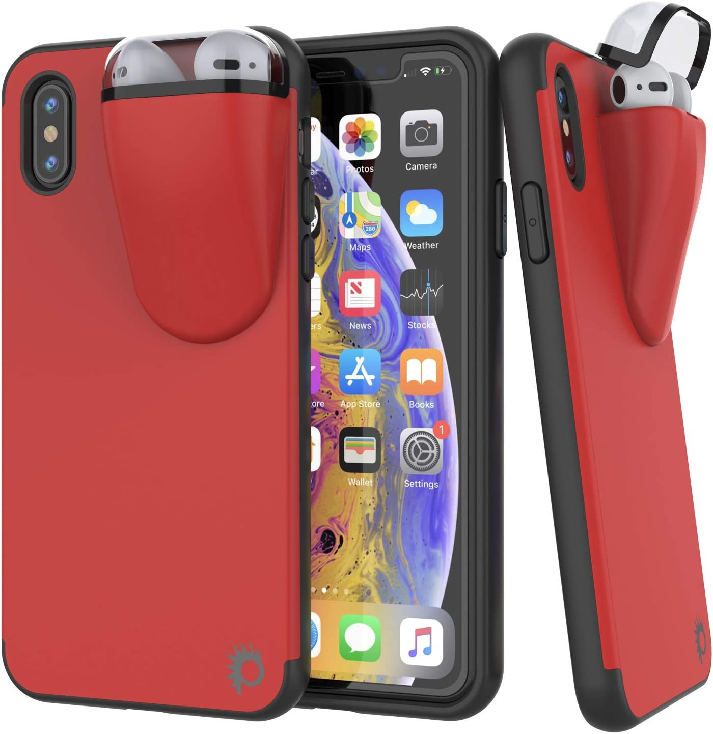 Punkcase iPhone X Airpods Case Holder (TopPods Series) | Slim & Durable 2 in 1 Cover Designed for iPhone X (5.8
