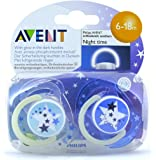 Baby Soother Dummy Pacifier Nipple Philips Avent Night Time 0-6m / 6-18m 2 Pack (6-18m, # 4)