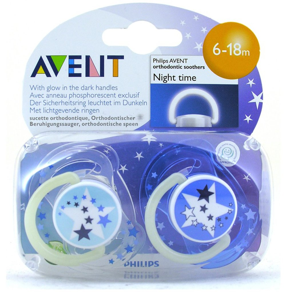 Baby Soother Dummy Pacifier Nipple Philips Avent Night Time 0-6m / 6-18m 2 Pack (0-6m, # 2) osigukltd 014