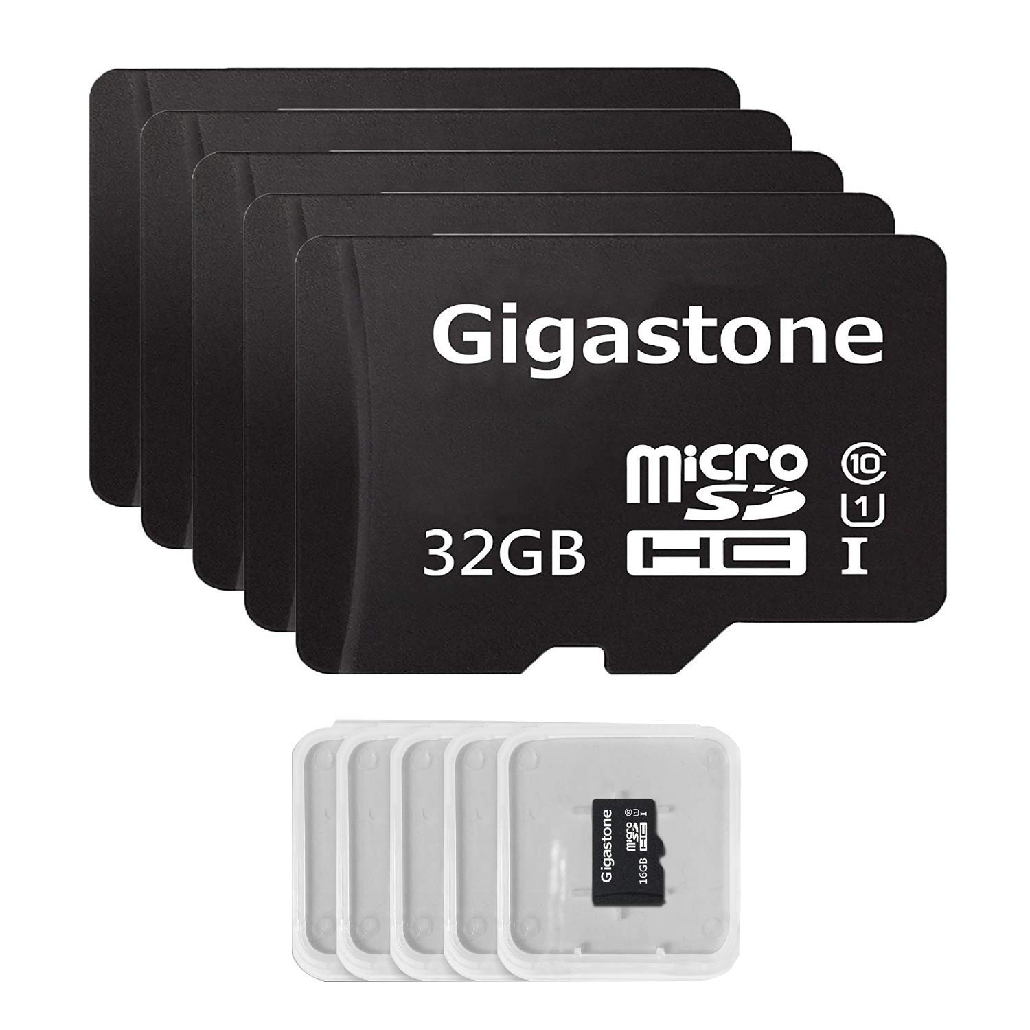 Gigastone Micro SD Card 32GB 5-Pack Micro SDHC U1 C10 High Speed Memory Card Class10 Uhs Full HD Video Nintendo Gopro Camera Samsung Canon Nikon DJI Drone - Black by Gigastone