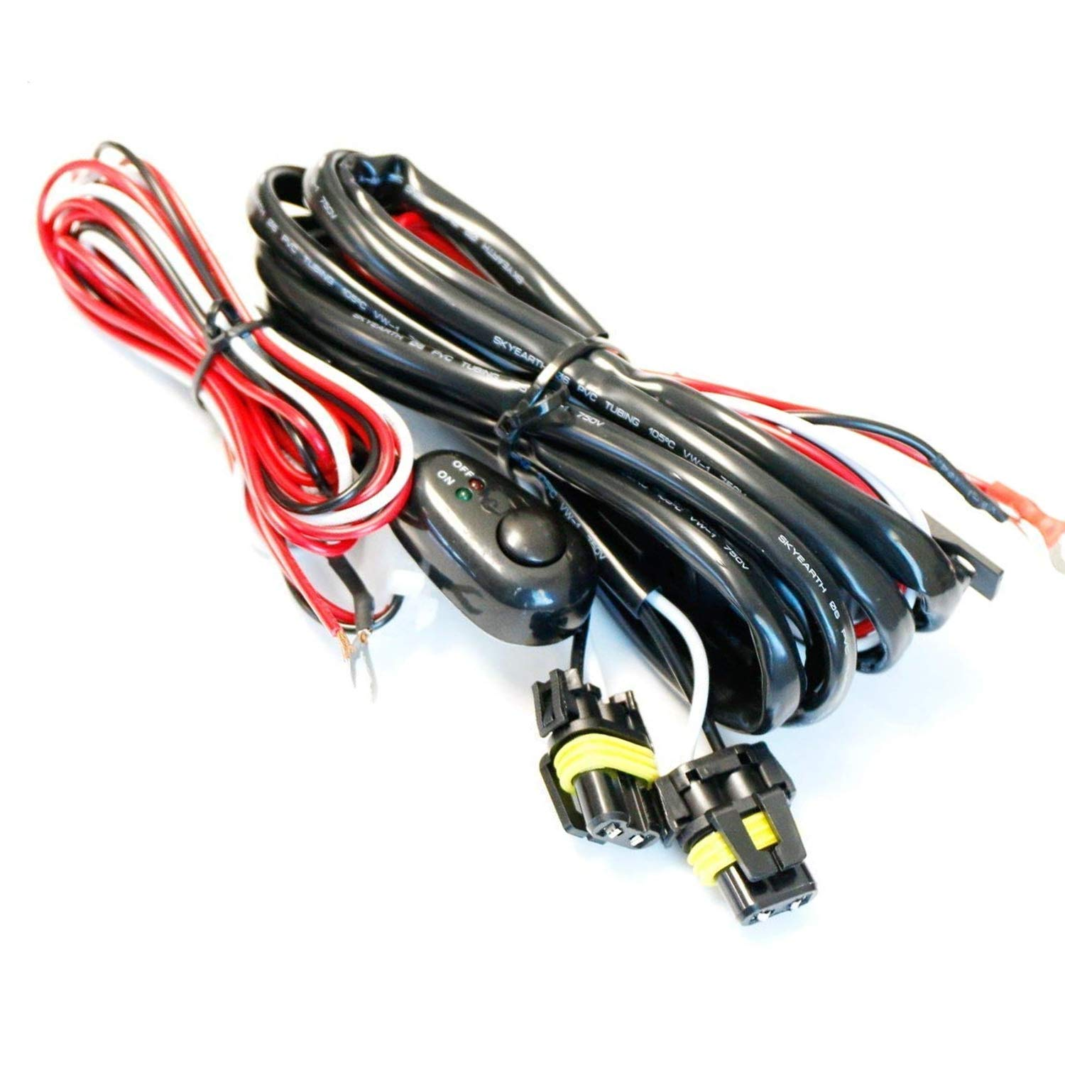 Ijdmtoy 1 9005 9006 H10 Relay Harness Wire Kit With Dodge Challenger Wiring On 1967 Chrysler 300 Led Light Off Switch For Aftermarket Fog Lights Driving Hid Conversion