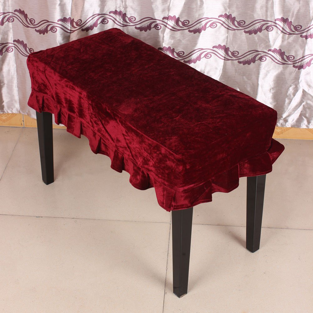 Andoer Universal Piano Stool Chair Bench Cover Pleuche Decorated with Macrame 75 35cm for Piano Dual Seat Bench RED 1000685