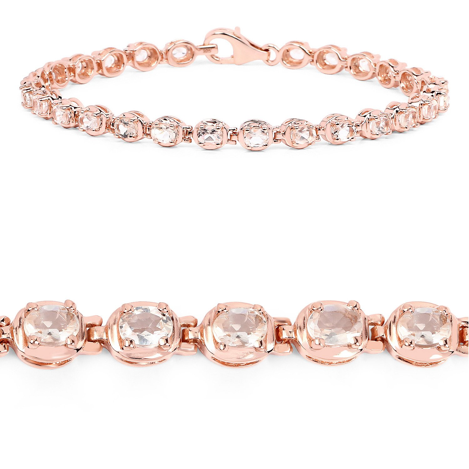 14K Rose Gold Plated 3.51 Carat Genuine Morganite Solid .925 Sterling Silver Bracelet