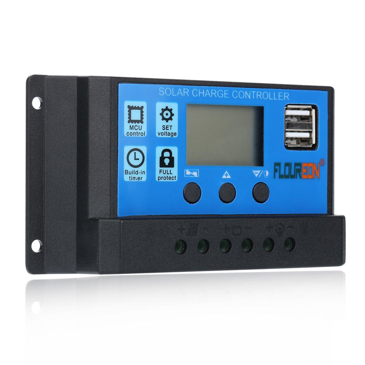 10-30A 12V//24V PWM LCD Solar Panel Regulator Charge Controller Auto Dual USB