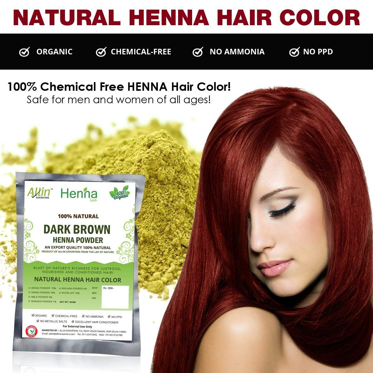 Allin Exporters Black Henna Hair Color - 100% Organic and Chemical Free  Henna for Hair Color Hair...