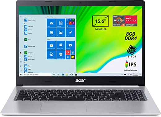 "Acer Aspire 5 A515-44-R0KN Pc Portatile, Notebook con Processore AMD Ryzen 5 4500U, Ram 8 GB DDR4, 512 GB PCIe NVMe SSD, Display 15.6"" FHD IPS LED LCD, AMD Radeon, Windows 10 Home, Silver"