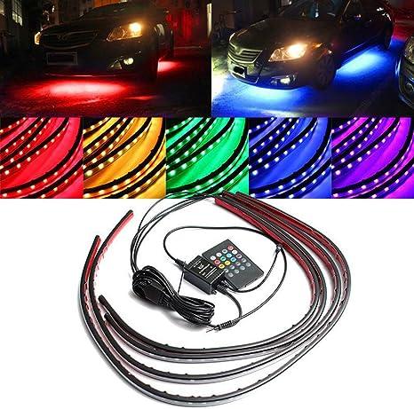 4x LED Light Strips RGB Under Car Tube Glow Underglow Underbody System Neon Kit