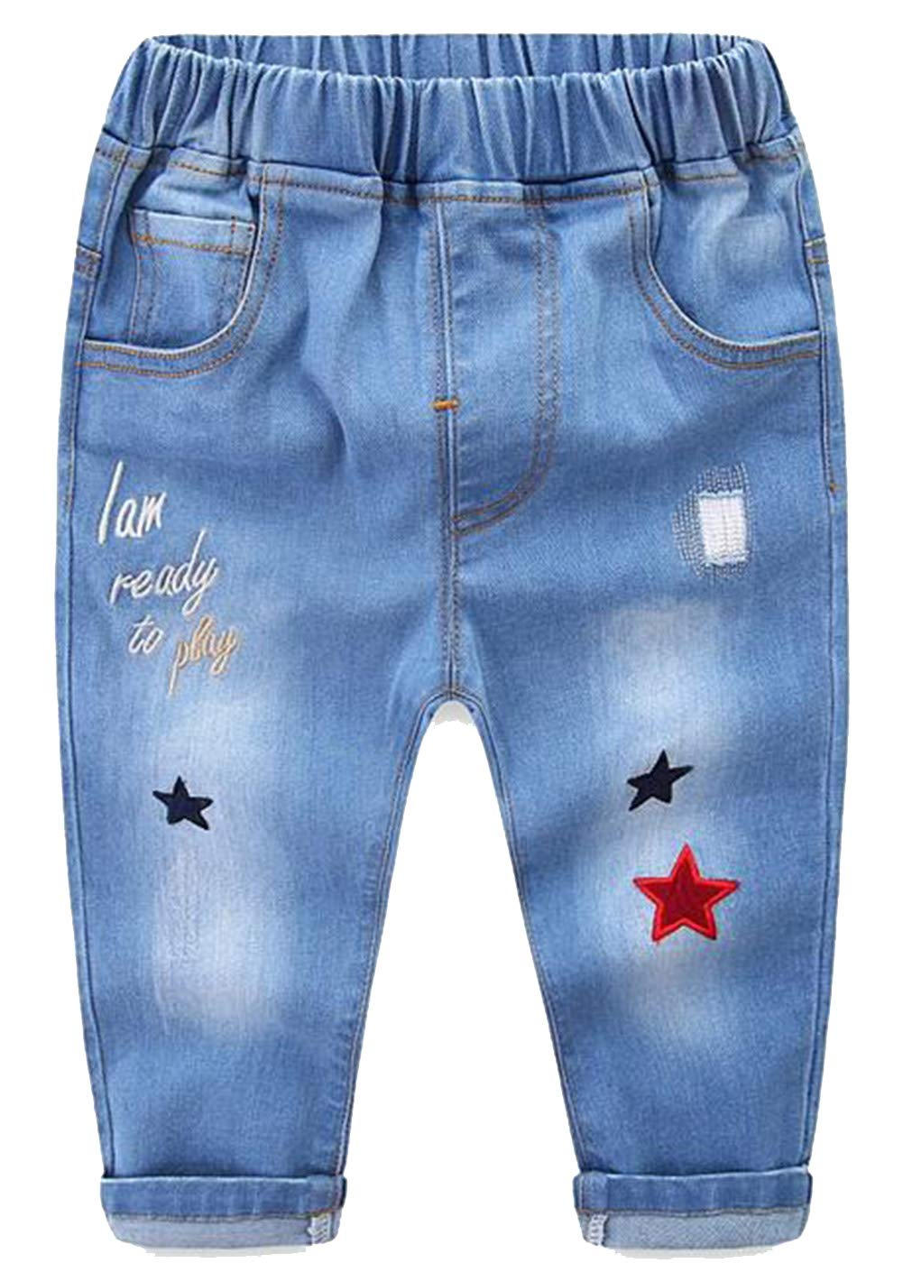MMWORM Baby Jeans Toddlers Pants Cotton Elastic Waistband Infant Trousers Kids Denim Style Basic Jeans Pants