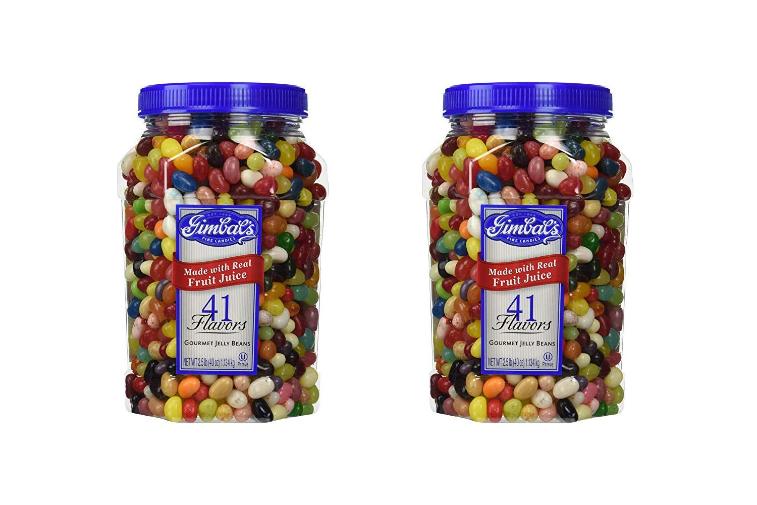 Gimbal's Fine Candies Gourmet Jelly Beans, 41 Flavors, 40-Ounce Jar (2 Pack)