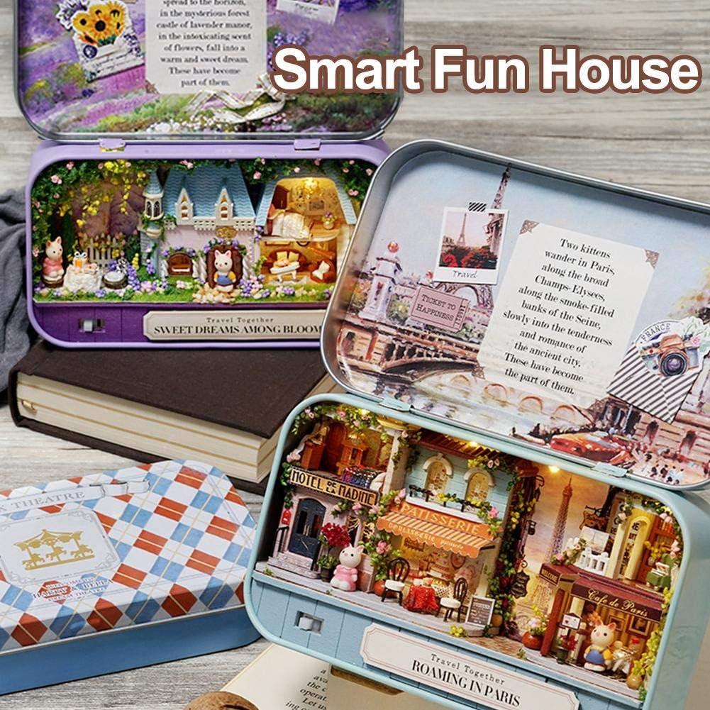 cumplea/ños Caja de 3 Piezas de Muebles de casa de mu/ñecas de Teatro en Miniatura 1:24 Kit de casa de mu/ñecas de Bricolaje Regalo de Arte de casa de mu/ñecas en Miniatura con luz LED para Navidad