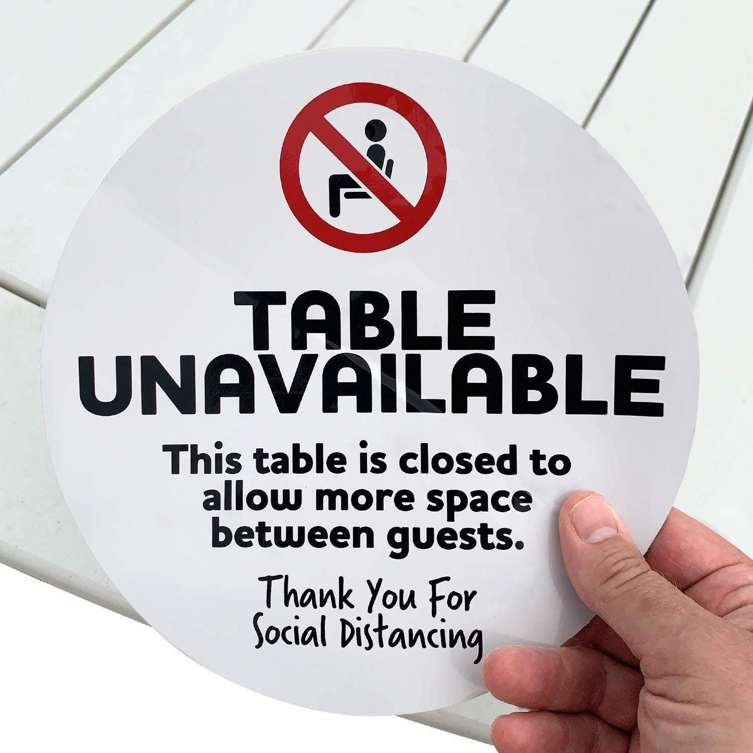 "SmartSign ""Table Unavailable, Thank You for Social Distancing, Table is Closed to Allow More Space Between Guests"" Table Decal 