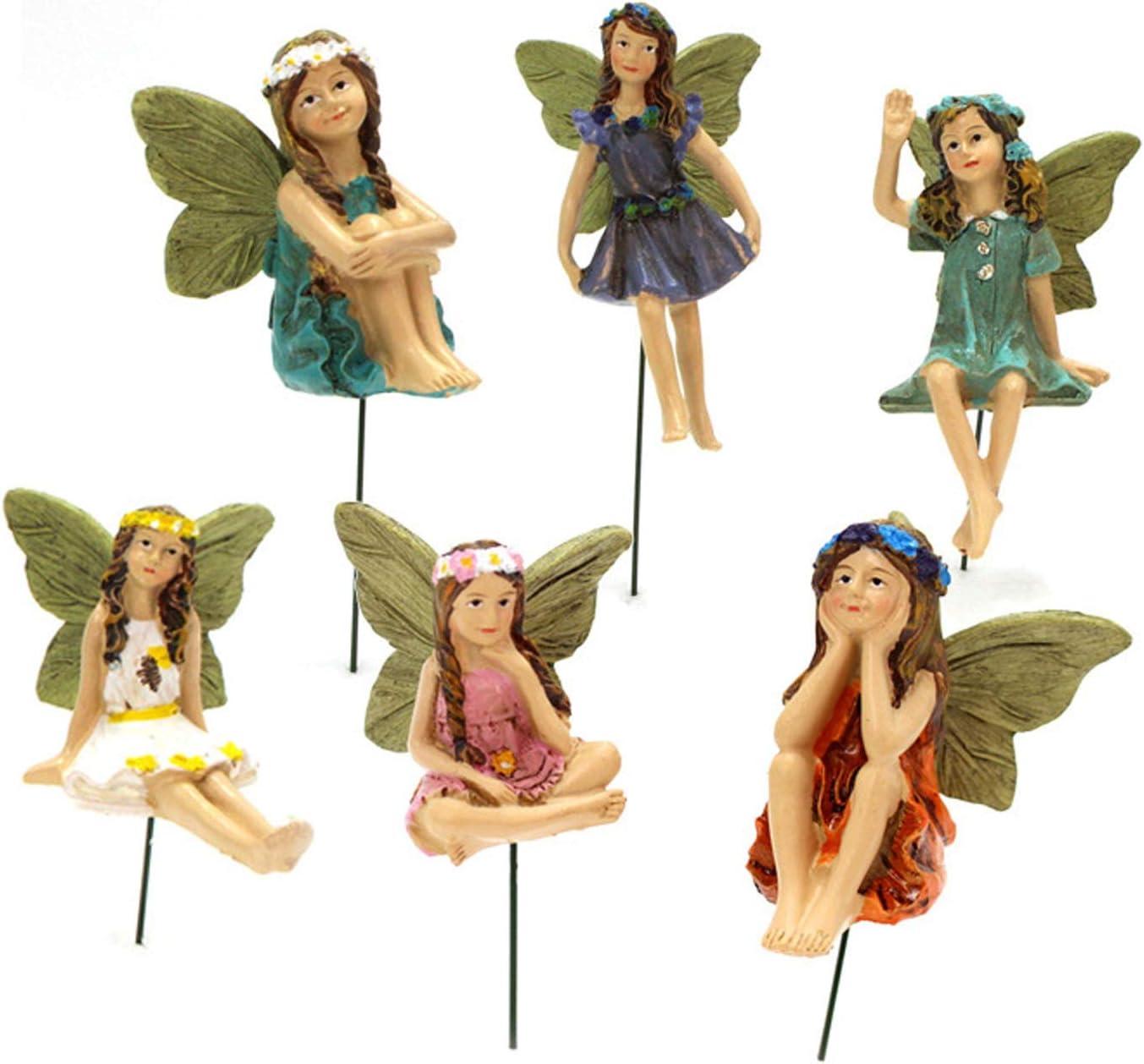 YIlanglang Miniature Fairy 6 Pack Fairy Garden Accessories Mini Garden Fairy Figurines Little Girls Poted Plants Ornaments Micro Landscape Home Garden Lawn Decoration Garden Bonsai Craft Decor