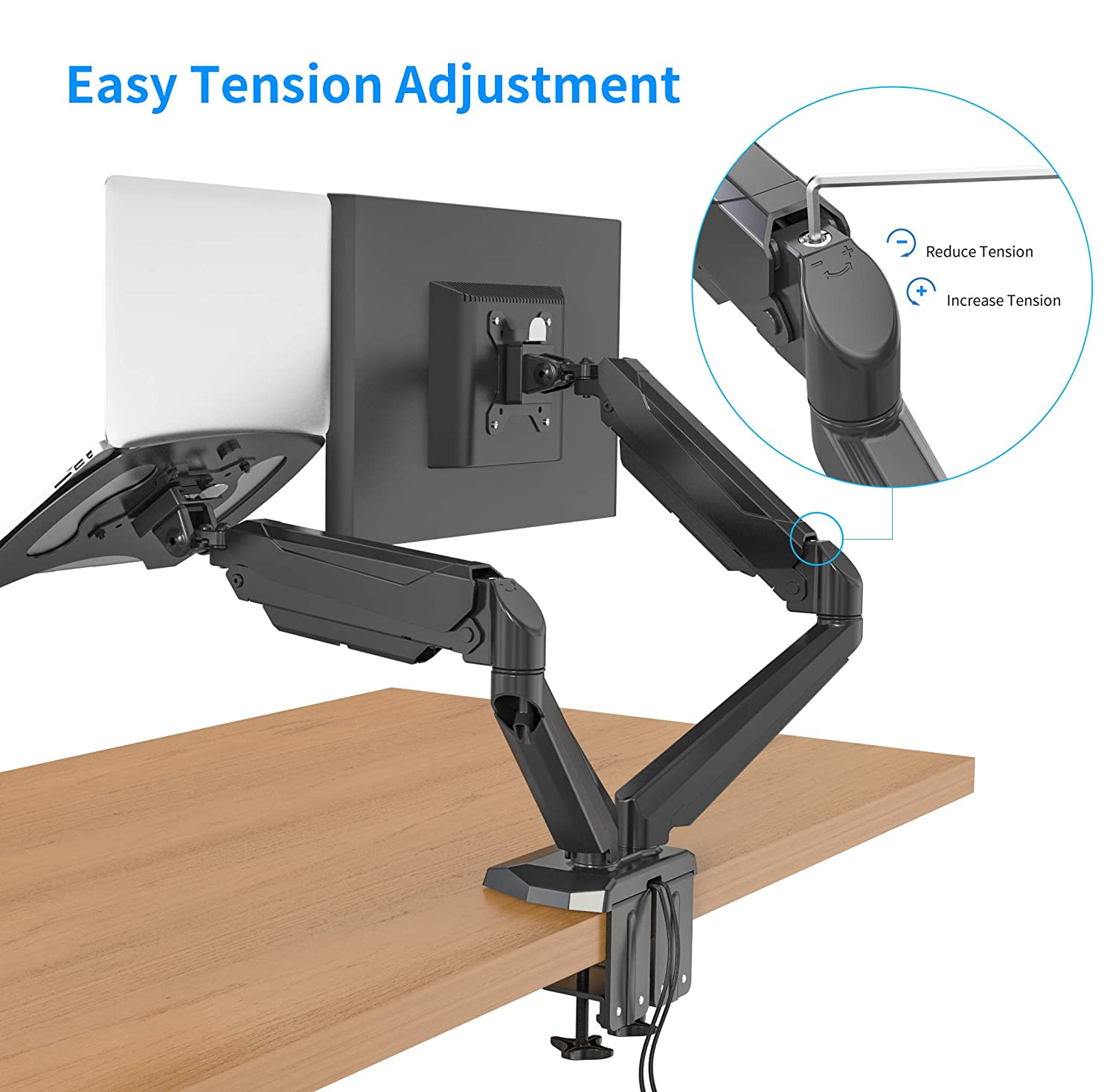 SA-GM224U+D15 Fully Adjustable Dual Gas Spring 2 in 1 Monitor /& Laptop OR Dual Monitors Mount Stand with 2 Swing Arms for 15-32 Monitors Both Desk Clamp and Grommet Options in the Box Silver-32