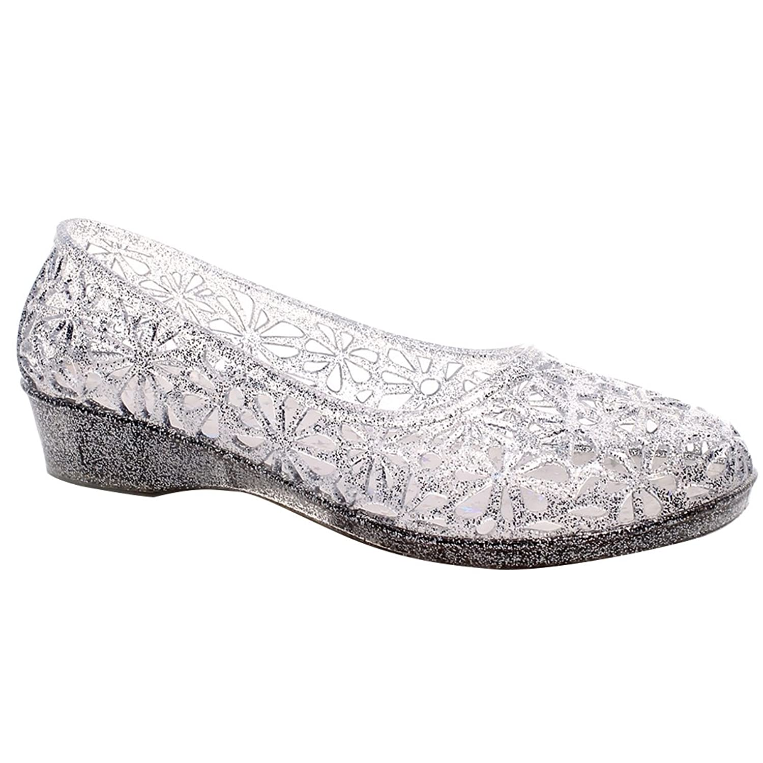 AlwaysU Womens Ladies Sandals Slip on Crystal Ballet Flat Hollow Glitter Jelly Shoes Size