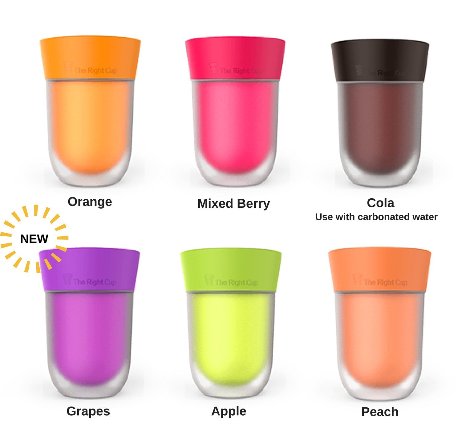 Flavor Enhancing water Cup- Pack of 6 flavored cups - Orange, Cola, Berry, Apple, Peach and Grape. Helps you drink water instead of soda. by The Right Cup by The Right Cup (Image #2)