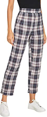 WDIRARA Women's Plaid High Waist Zipper Back Casual Crop Pants Trousers