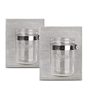HOMKO Farmhouse Mason Jar Candle Lanterns - Wall Hanging Mason Jar Decorative Accessories Set for Country, Western, Vintage, and Outhouse Style (Set of 2)