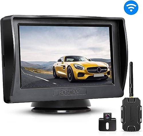 BOSCAM K1 Wireless Backup Camera Kit, Backup Camera for Cars, Pickup Trucks, Sedans, Minivans, IP68 Waterproof Rear-View Camera with 4.3 Monitor