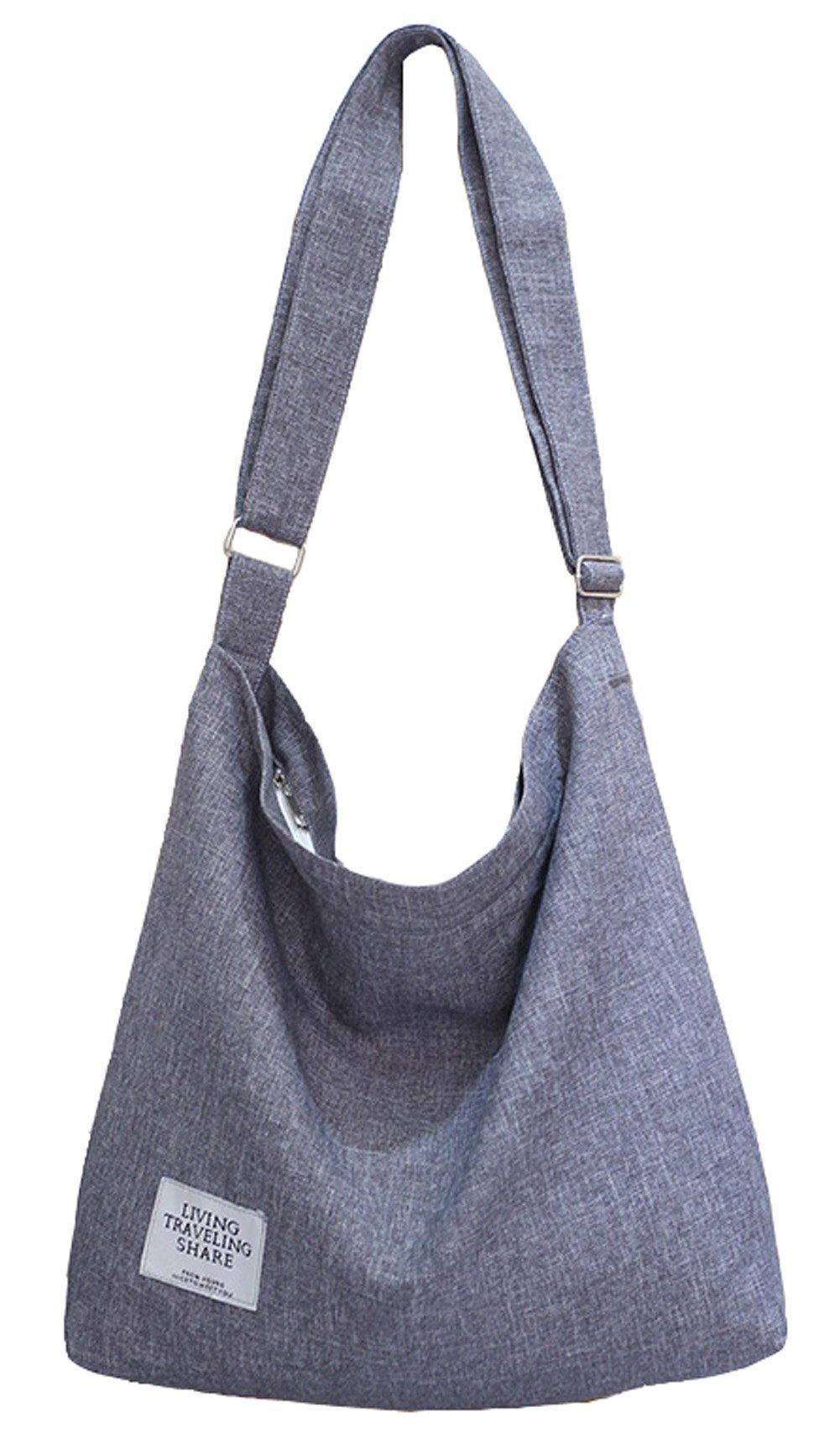 Covelin Women's Retro Large Size Canvas Shoulder Bag Hobo Crossbody Handbag Casual Tote Light Grey by Covelin
