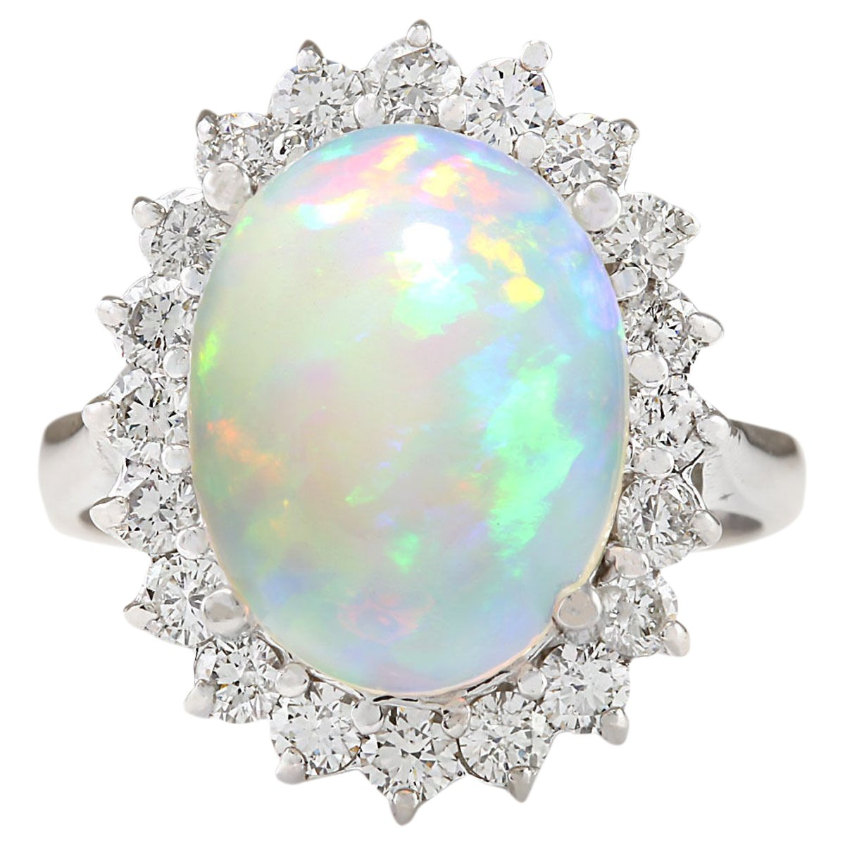 5.19 Carat Natural Multicolor Opal and Diamond 14K White Gold Cocktail Ring for Women