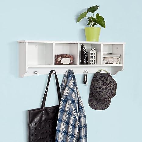 sobuy frg48 l w penderie mural portemanteau tagre murale porte manteau salle de bain meuble dentre blanc amazonfr cuisine maison