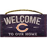 Chicago Bears NFL Team Logo Garage Home Office Room Wood Sign with Hanging Rope - WELCOME TO OUR HOME