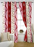 Story@Home Fancy Geometric 2 Piece Soft Polyester Curtain Set - 7ft, Wine Red