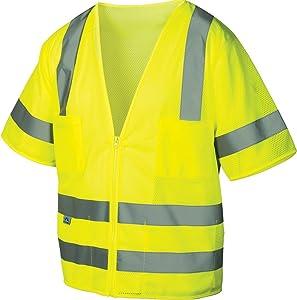Pyramex RVZ3110X3 Lumen X Class 3 Safety Vest, 3X-Large, Hi-Vis Lime