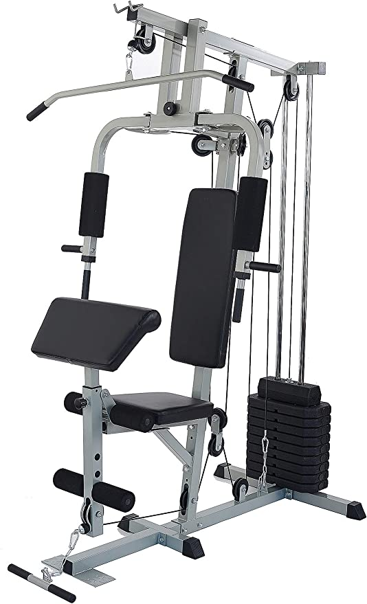 Amazon.com : Sporzon Home Gym System Workout Station with 330LB of Resistance, 125LB Weight Stack, Gray : Sports & Outdoors