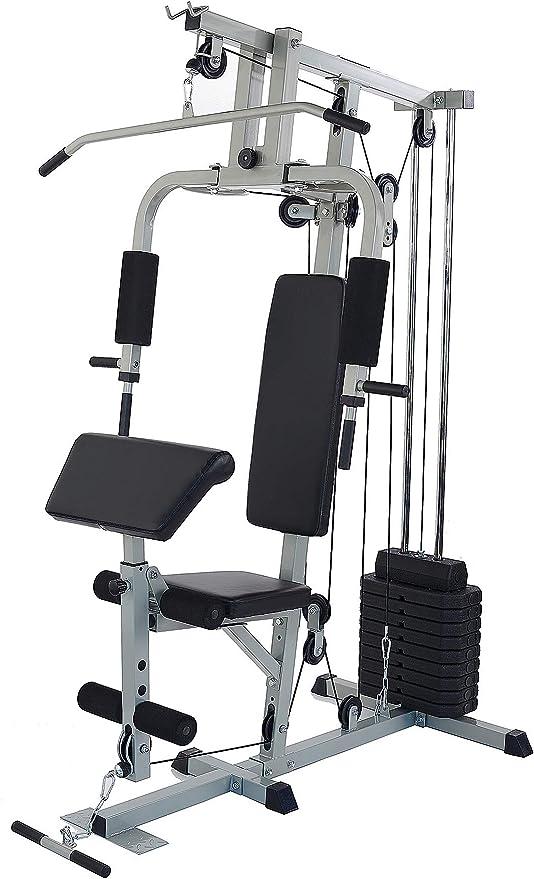 Amazon.com: Sporzon Home Gym System Estación de entrenamiento con 330LB de resistencia, 125LB pila de peso, gris: Sports & Outdoors