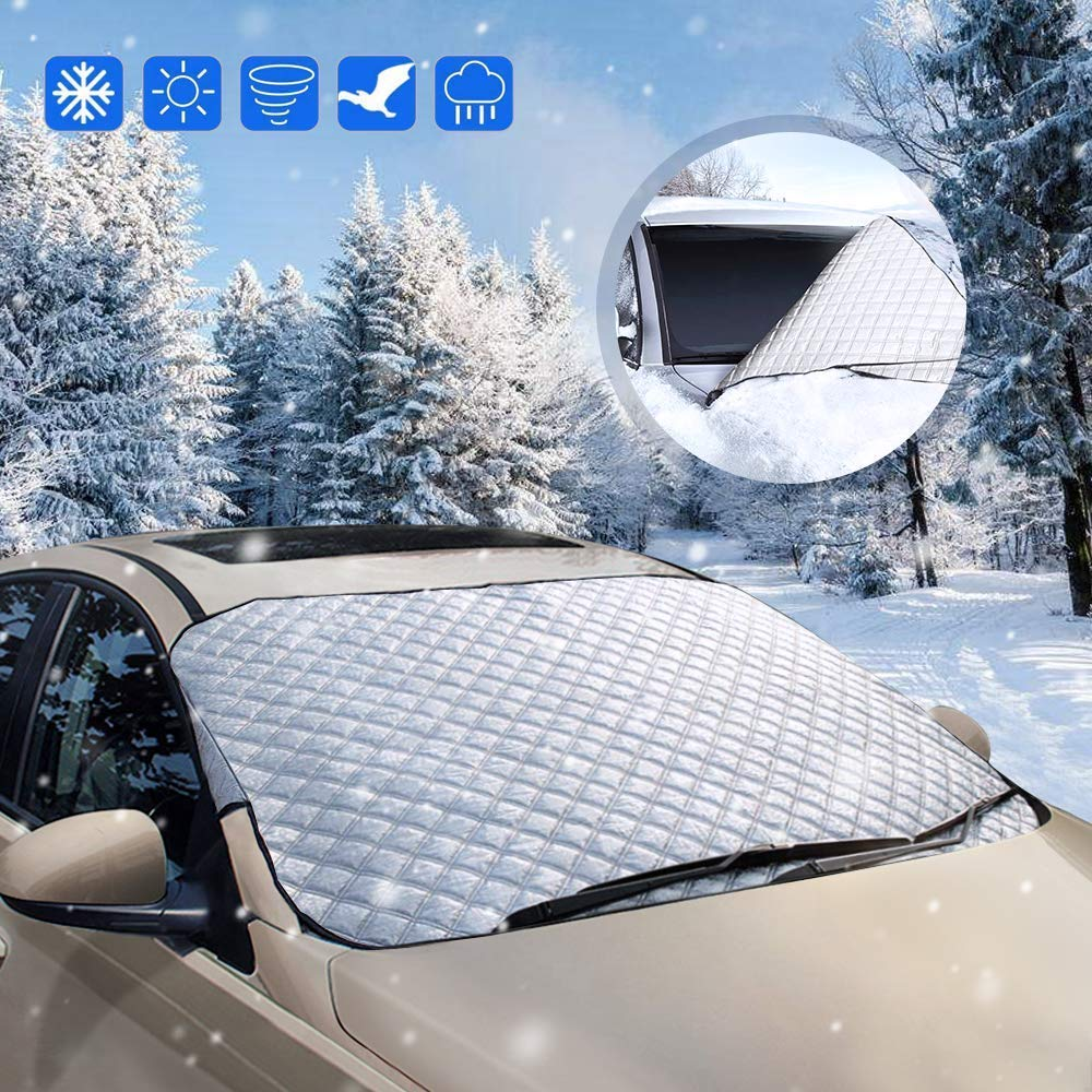 opamoo Car Windshield Snow Cover Sun Shade Protector All Weather - Snow Ice Frost Sun Wind Car Snow Cover Cotton Thicker Snow Protection Cover Fits Most Cars