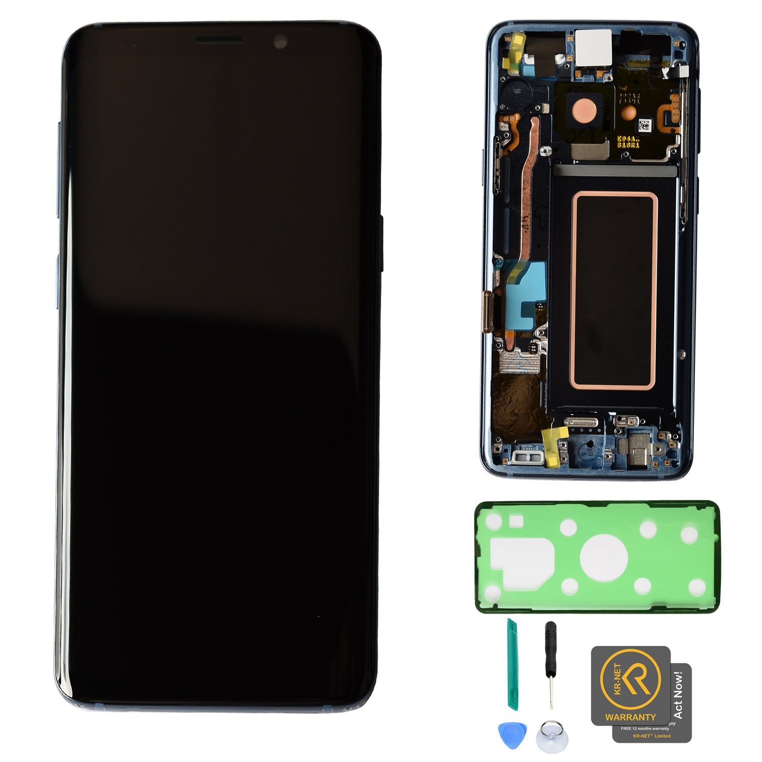 KR-NET [Coral Blue with Frame] AMOLED LCD Display Touch Screen Digitizer Assembly Replacement for Samsung Galaxy S9 SM-G960, with Adhesive and Tools